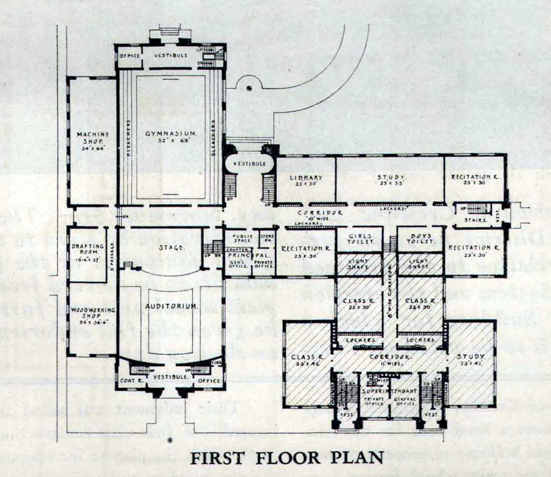 Modern high school floor plans the for Old school house plans